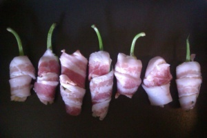 Cascabella and Espelette wrapped in bacon