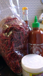 Asian food supply, shriracha, prawn paste and half a kilo of chillies