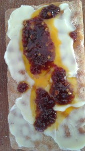 Swedish crisp bread with butter and Nam prik pao