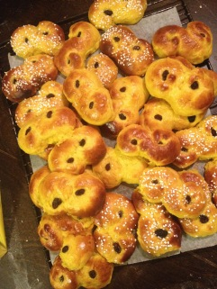 Lussekatter (typical Swedish buns with saffron)