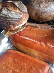 Home smoked salmon and hubby bread